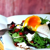 Poached Goose Egg Salad & Bacon Balsamic Vinagrette