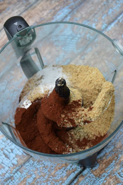 Dry ingredients go into a food processor with brewed coffee and butter.