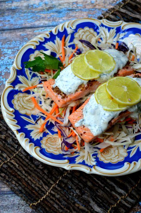 Mustard Crusted Salmon & Dill Creme Fraiche! Low Carb & Keto Friendly recipe!